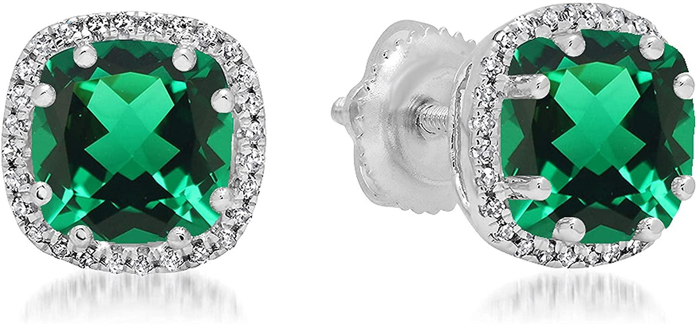 Dazzlingrock Collection 14K 6 MM Cushion Lab Created Gemstone & Round Diamond Ladies Halo Style Stud Earrings, White Gold