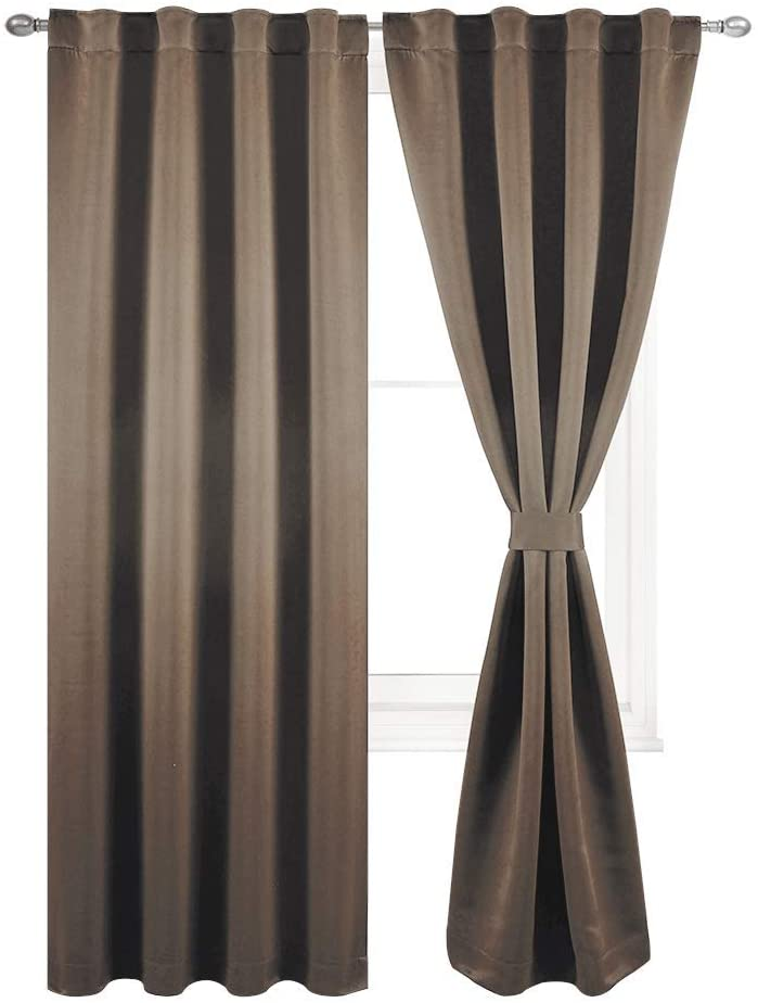 TEXPLUS Set of 2 Thermal Noise Insulated Rod Pocket and Back Tab Blackout Curtain Panels for Bedroom (Coffee Brown, 52Wx95L Inches)
