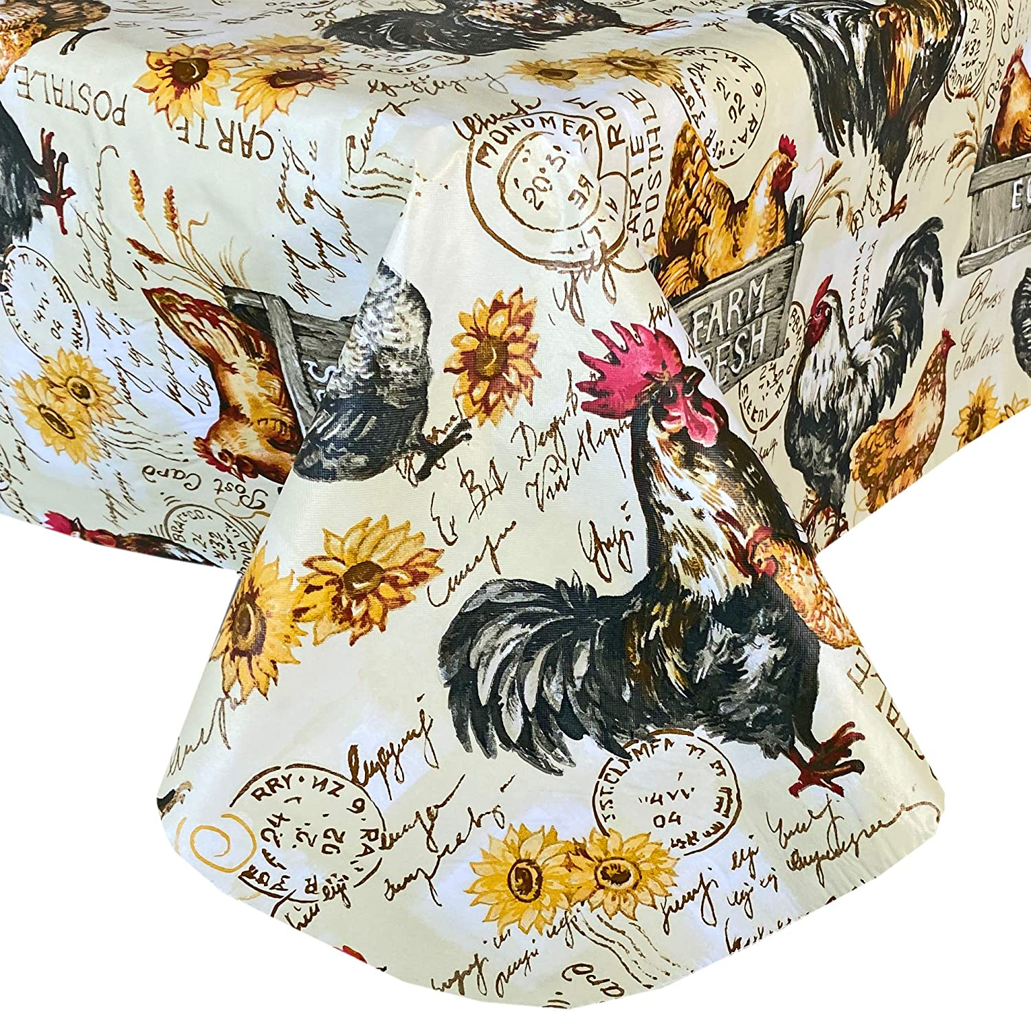 """Newbridge French Country Rustic Farmyard Rooster Print Vinyl Flannel Backed Tablecloth - Farmhouse Hen and Fresh Eggs Design Indoor/Outdoor Wipe Clean Easy Care Vinyl Tablecloth, 70"""" Round"""