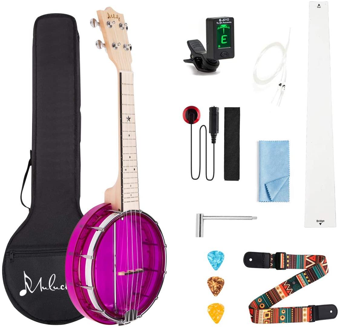Mulucky 4-String Banjo Ukulele, Mini Banjo Ukes Purple With Gig Bag Tuner String Strap Picks - BU80P