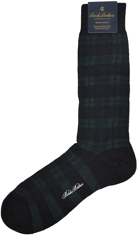 Brook Brothers Lightweight Merino Wool Blend Calf Length Dress Socks Blackwatch Tartan Plaid