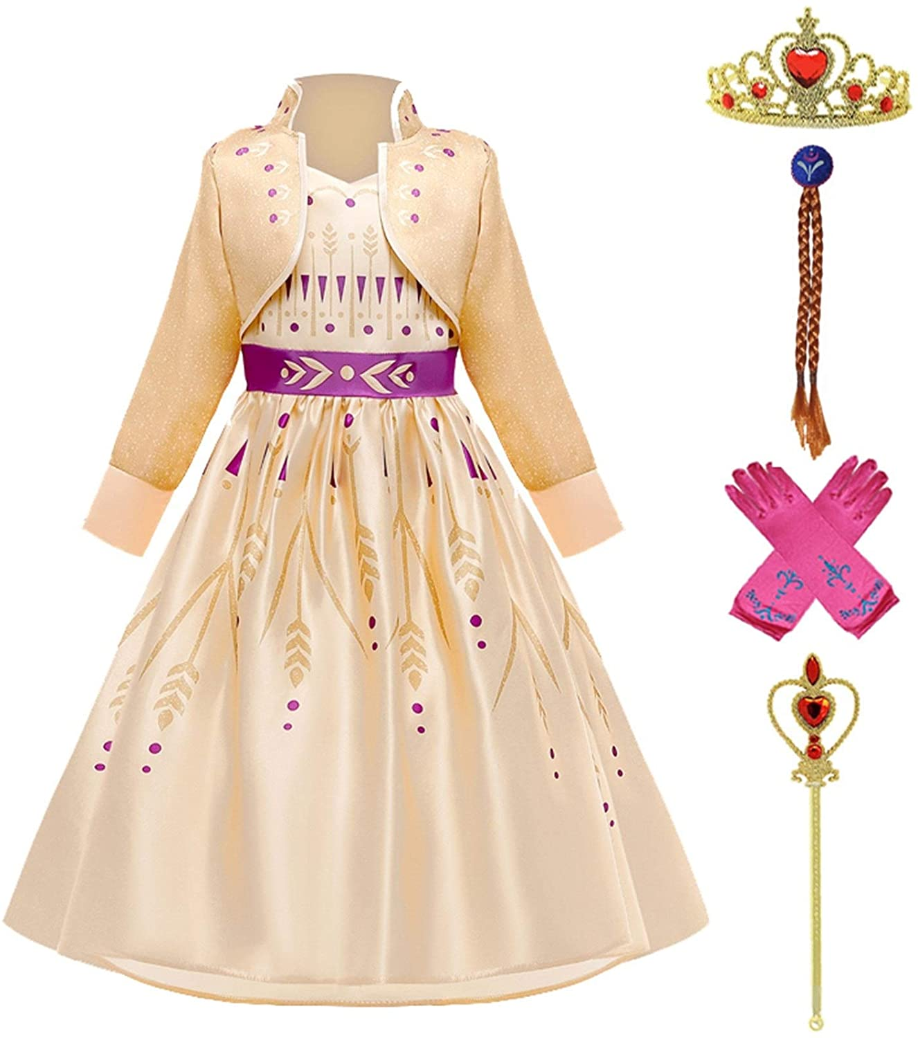 XYXINS Dresses for Girls Princess Party Elsa Costume Snow Queen 2 Cosplay Hair Accessory Set Halloween Girls Clothes Festive Dress Up Princess Look (Color : Anna Set 3, Kid Size : 10)