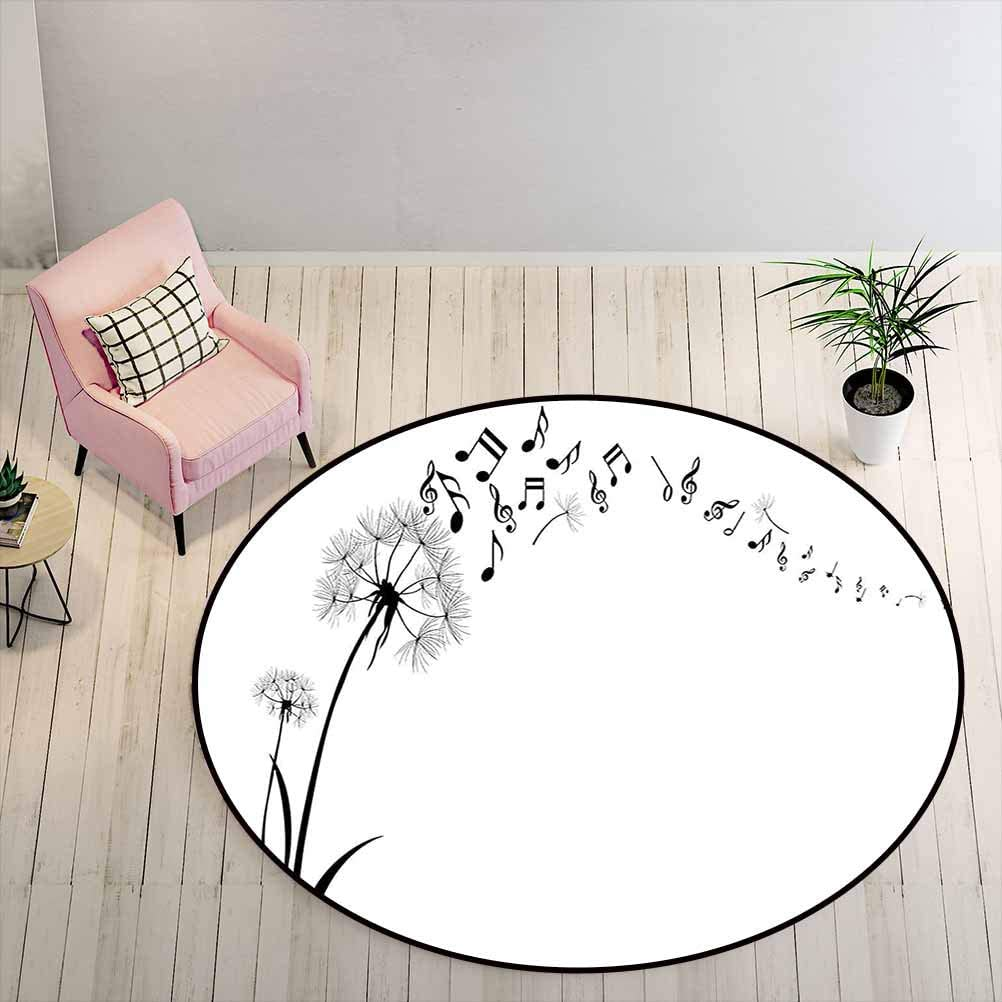 Bathroom Rugs 6 ft Round - Music Decor DIY Carpet Flying Dandelions with Note Music Summer Meadow Silhouette Softness Simple,