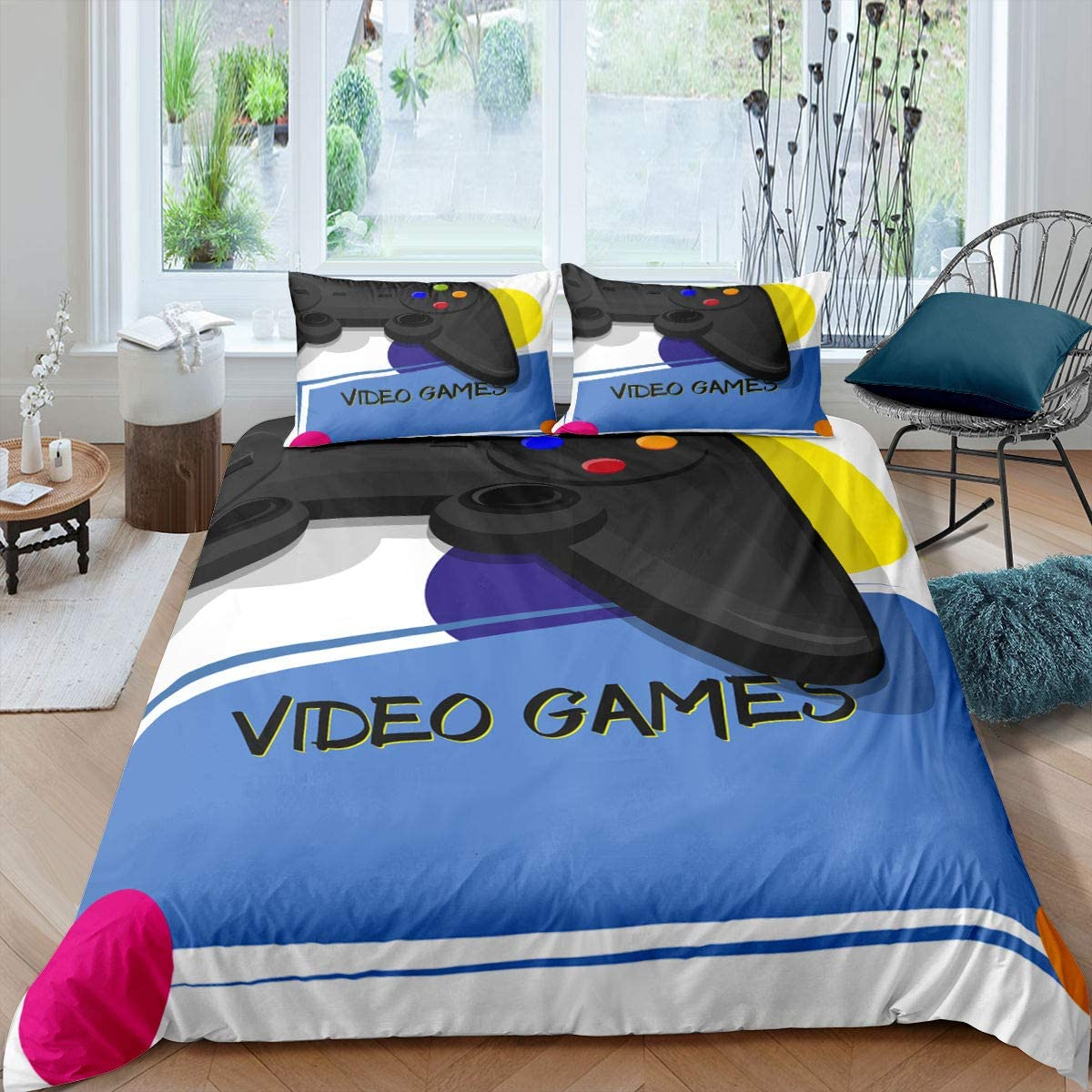 Game Bedding Set Boys Youth Modern Gamepad Comforter Cover Queen Size Video Game Controller Design Duvet Cover Gaming Console Pattern Quilt Cover For Kids Teens Adults Brushed Bedroom Décor