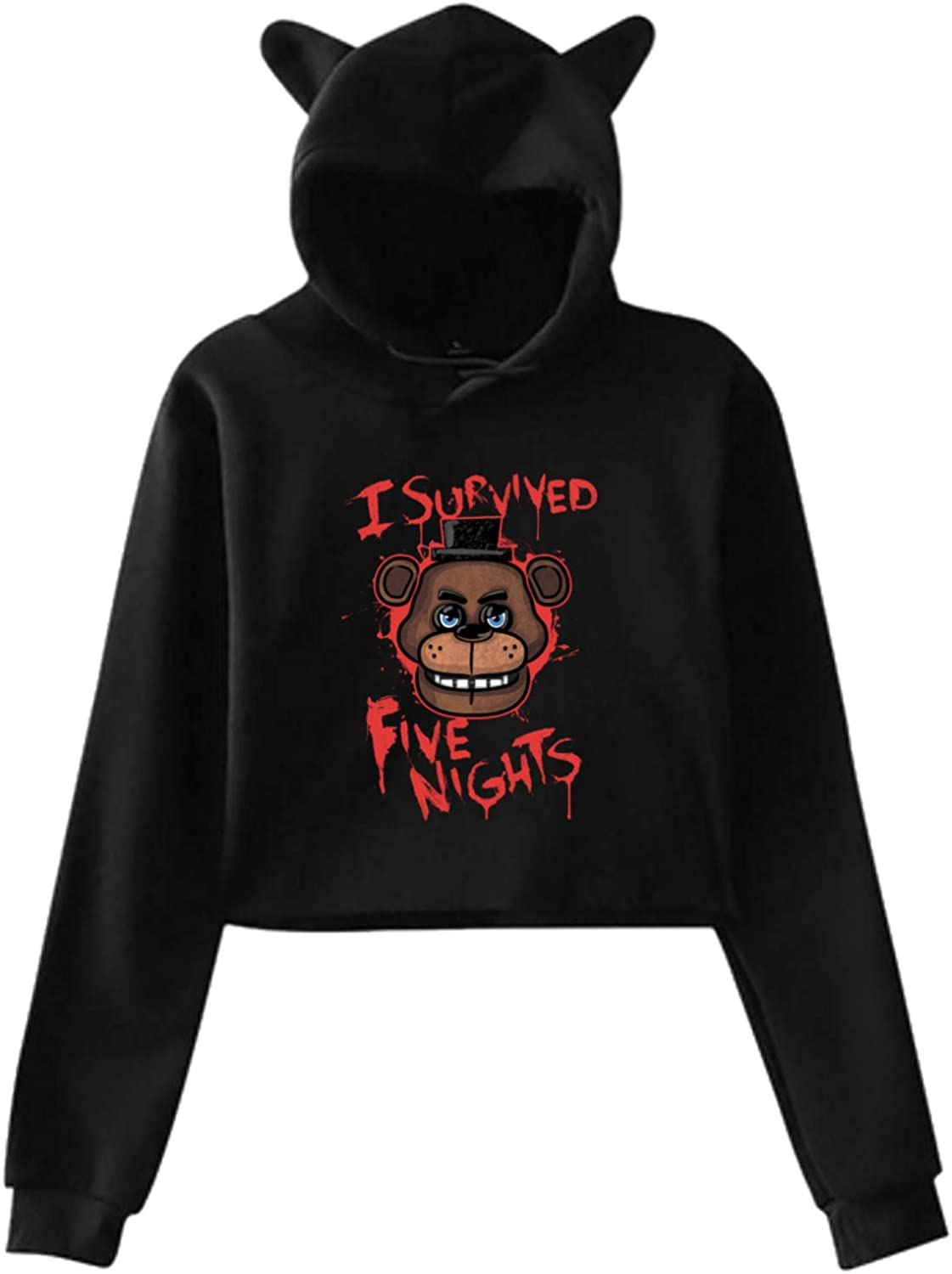 Five Nights at Freddy Long Sleeve Cat Ear Pullover Hoodie Sweater Soft Fashion Casual Sweatshirt
