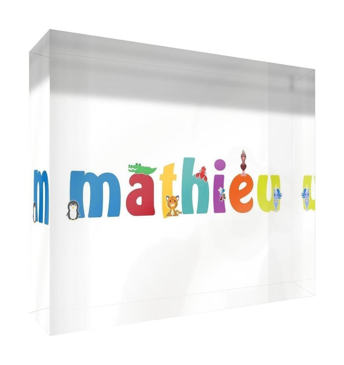 Little Helper Souvenir Decorative Polished Clear Acrylic Diamond Style Example with Boy Mathieu Name 7.4x 10.5x 2cm Small Multi-Coloured