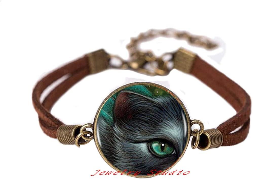 Green Eye Cat Bangle Bracelet Cat Charm Women Handmade Bracelet Jewelry Men Dress Accessories-HZ0198