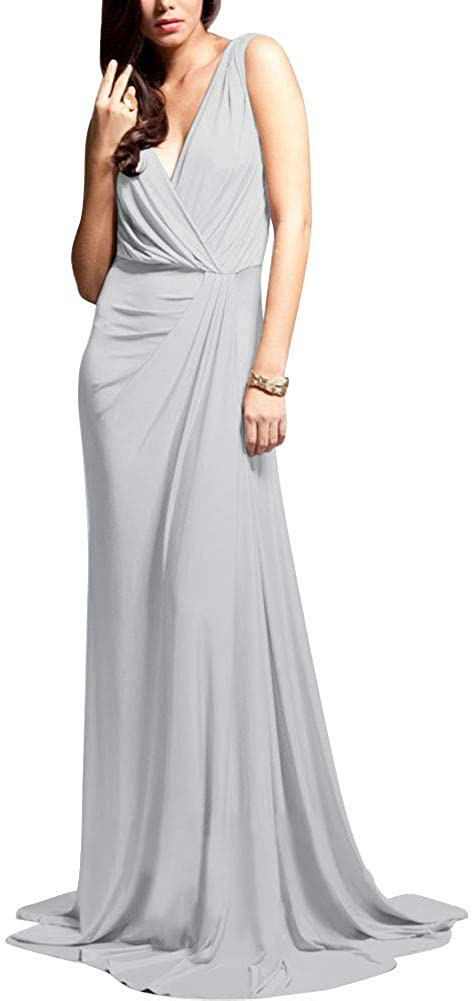 P PROMSTAR V Neck Bridesmaid Dresses Long A Line with Train Evening Party Gowns for Women Silver