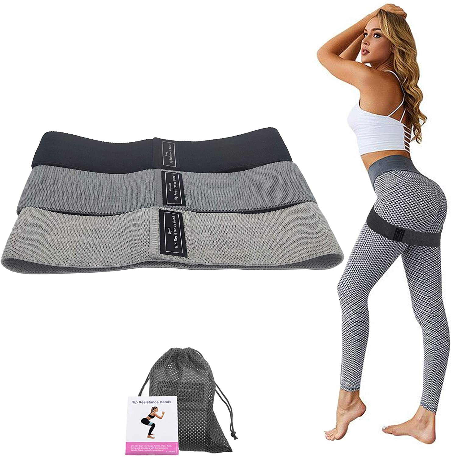 Fitaway Resistance Bands, Exercise Bands for Women/Men Legs and Butt, Non-Slip Booty Bands Exercise Bands for Working Out