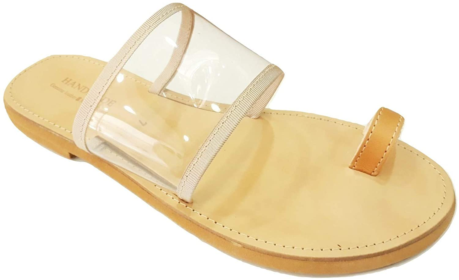 Greek Leather Sandals Manto Women Handmade Ancient Style Transparent Slide Flat Summer Spartan Roman Genuine Handcrafted Toe Ring Boho Fashion Shoes