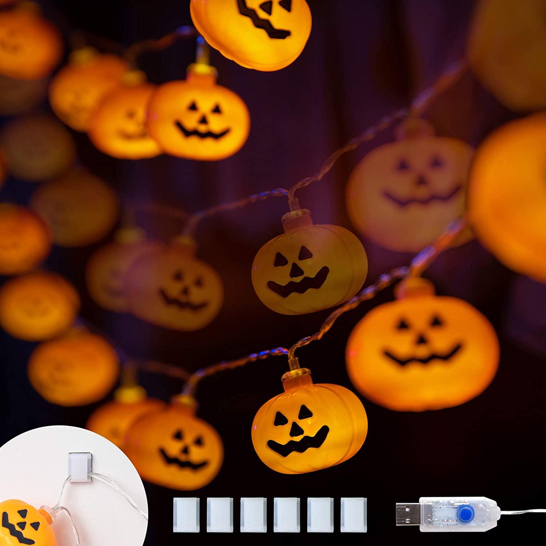 Halloween Lights String 40 LED 17FT USB Operated Classic Pumpkin Lights