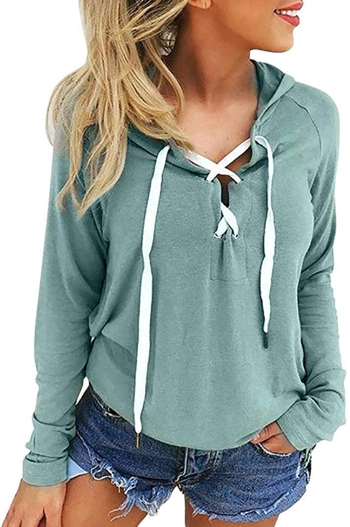 Womens Long Sleeve Fleece Pullover Hoodie Sweatshirts, Women Lace Up Coat Sports Pullover Tops