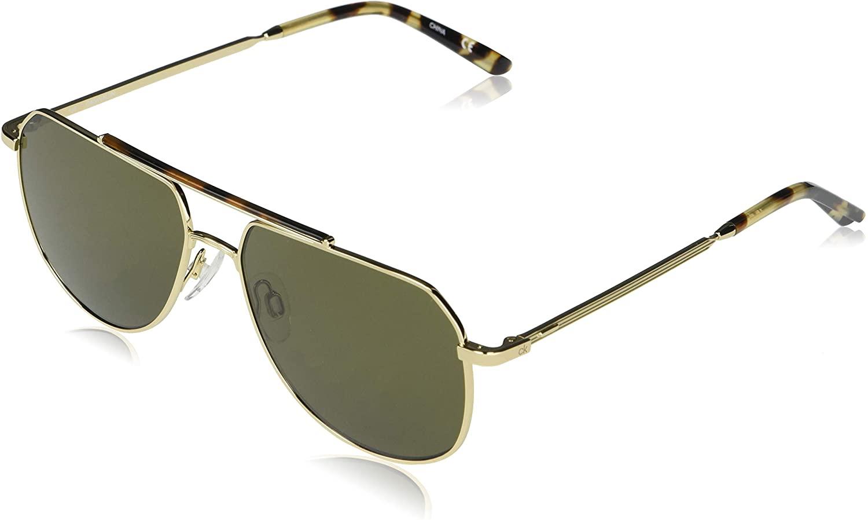 Calvin Klein Men's CK20132S Aviator Sunglasses, Shiny Gold/Solid Cargo, 57-15-145