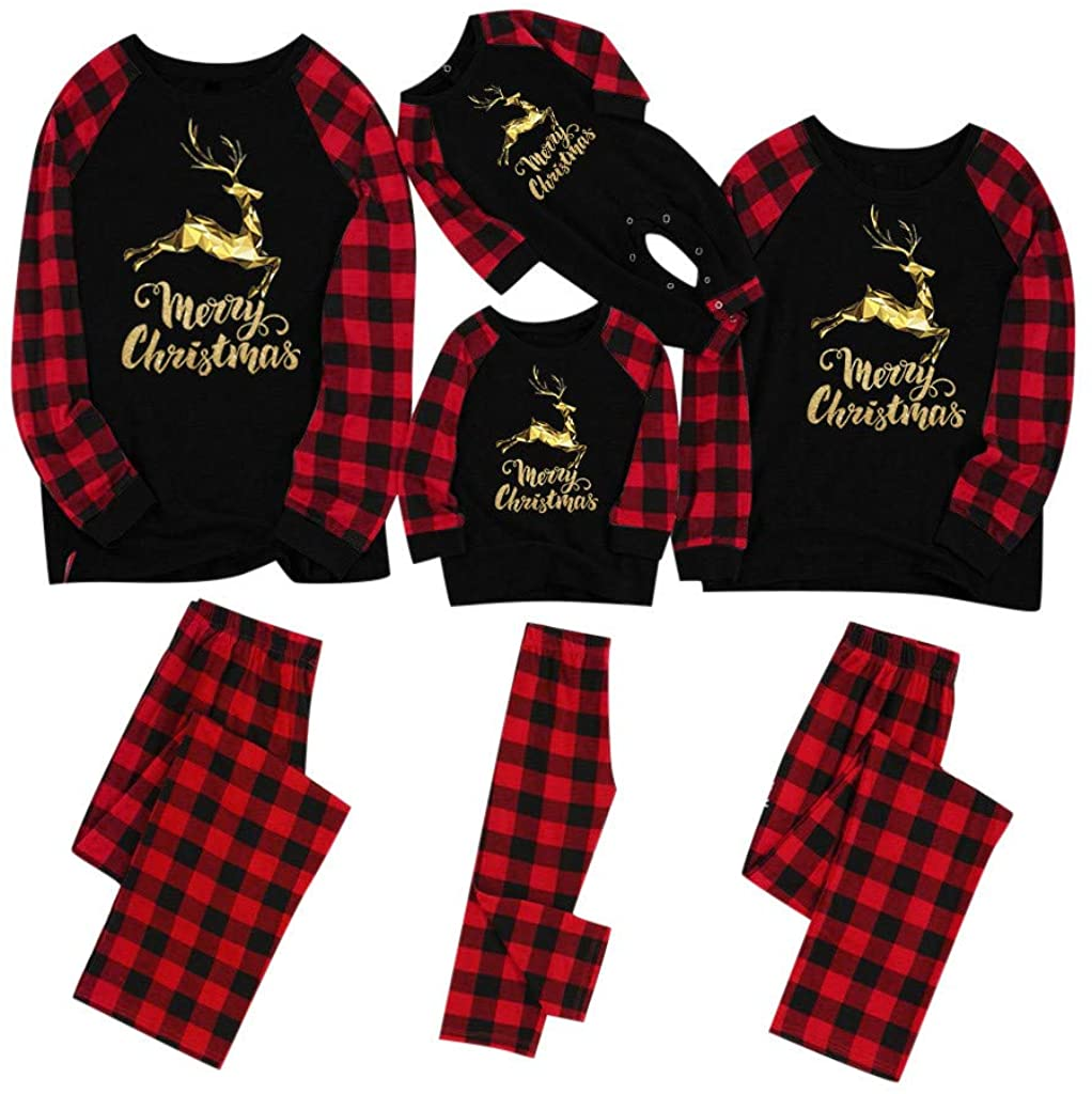 JSPOYOU Christmas Pajamas Sets Long Sleeve Cute T-Shirt+ Long Pants Pajamas Family Set Sleepwear Homewear