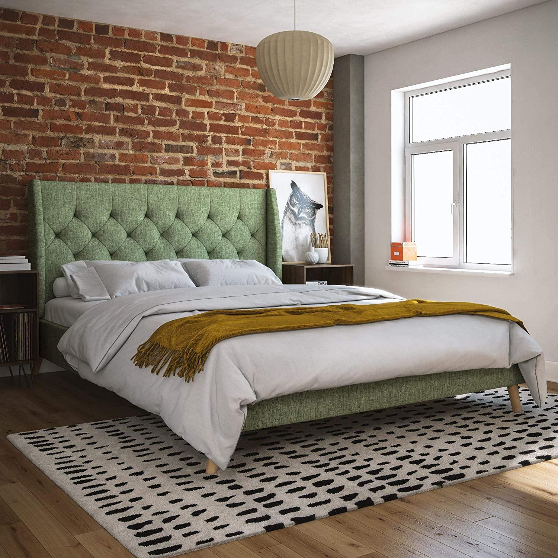 Novogratz Her Her Majesty Upholstered Bed, Full, Light Green