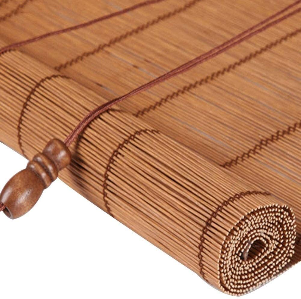 Old-Fashioned Straw Curtain Bamboo Blinds Natural Window Roll Up Roman Shades Light Filtering Window Sun Shade Dust-Proof, 3 Styles Customizable Size Natural Reed Curtain