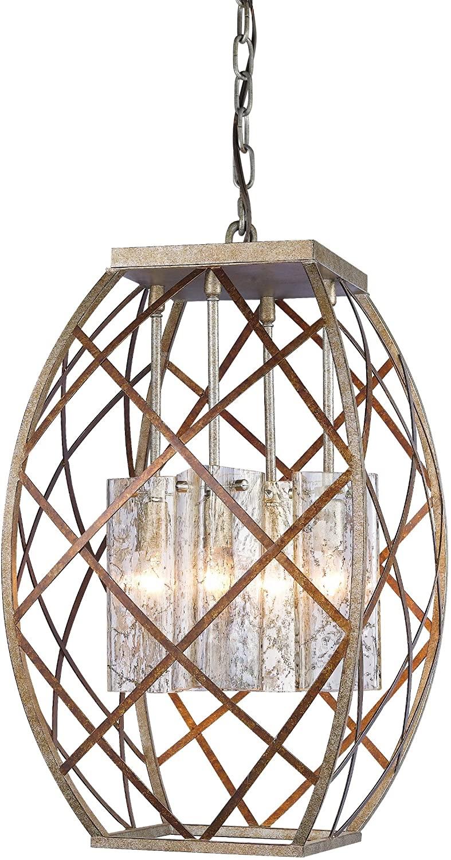 Woodbridge Lighting 12620VIN-UTA888 Braid 4-Light Chandelier, 27-Inch by 16-1/2-Inch, Vintage Graphite