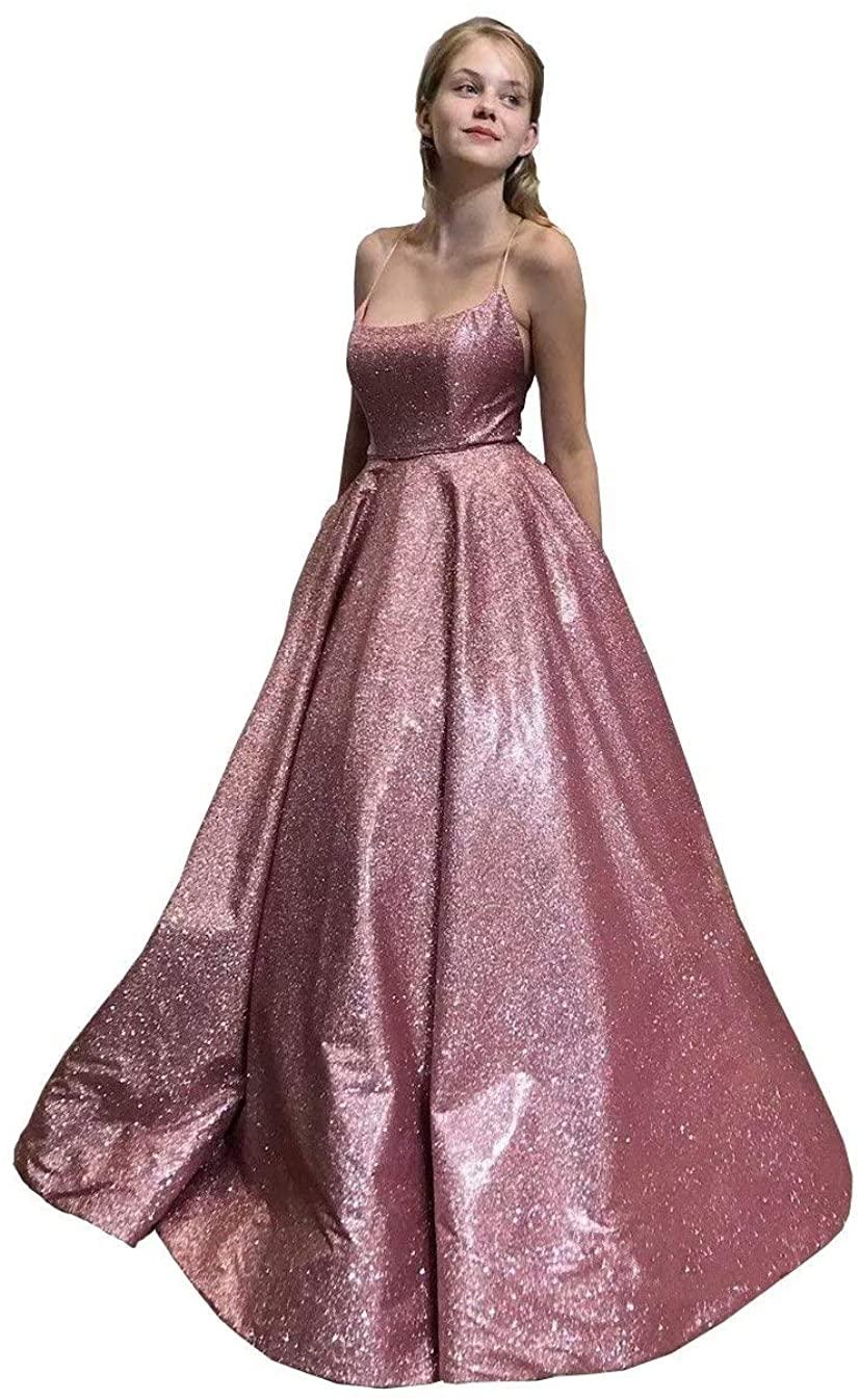 LOVELIULIU66 Empire Waist A-line Prom Dresses for Women Spaghetti Sequined Evening Formal Dress Long Party