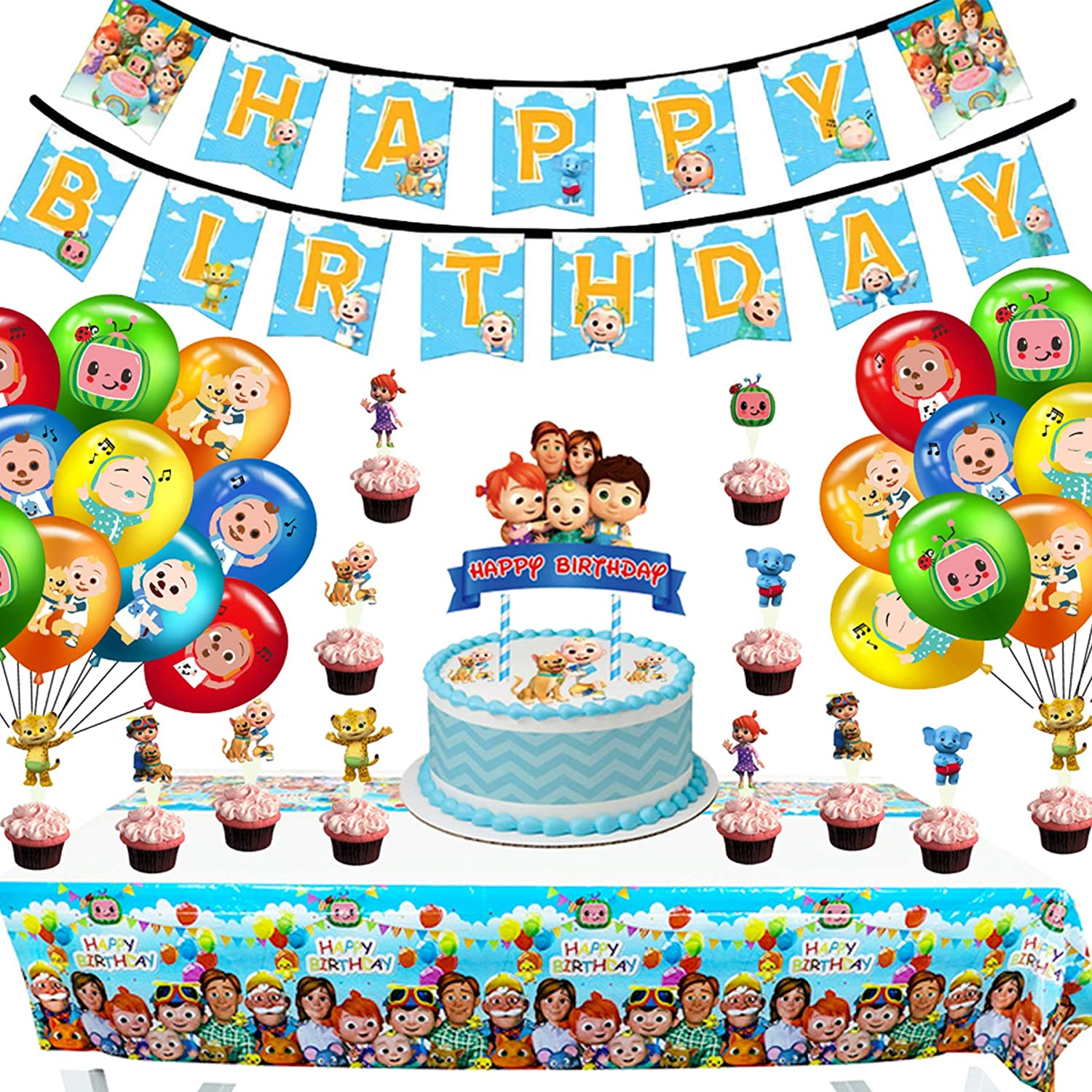 cocomelon Themed Birthday Party Decorations Supplies Set Happy Birthday Banner Cake Topper Cupcake Toppers Balloons for Kids Adults Party Decorations, cocomelons Birthday Party Dessert Set