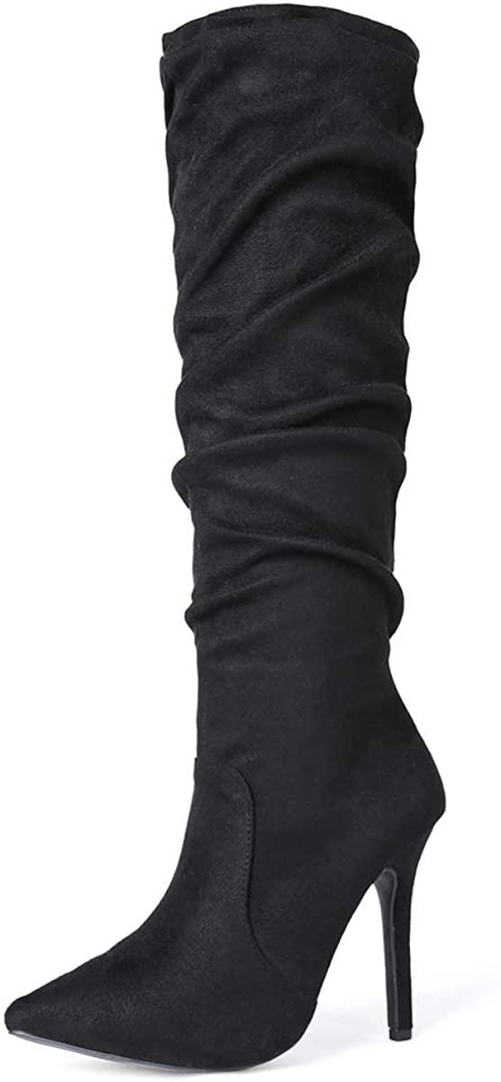 Sivellya Women's Knee High Boots High Heel Stacked Boots Tall Fashion Boot 4 Inch High Heel Black