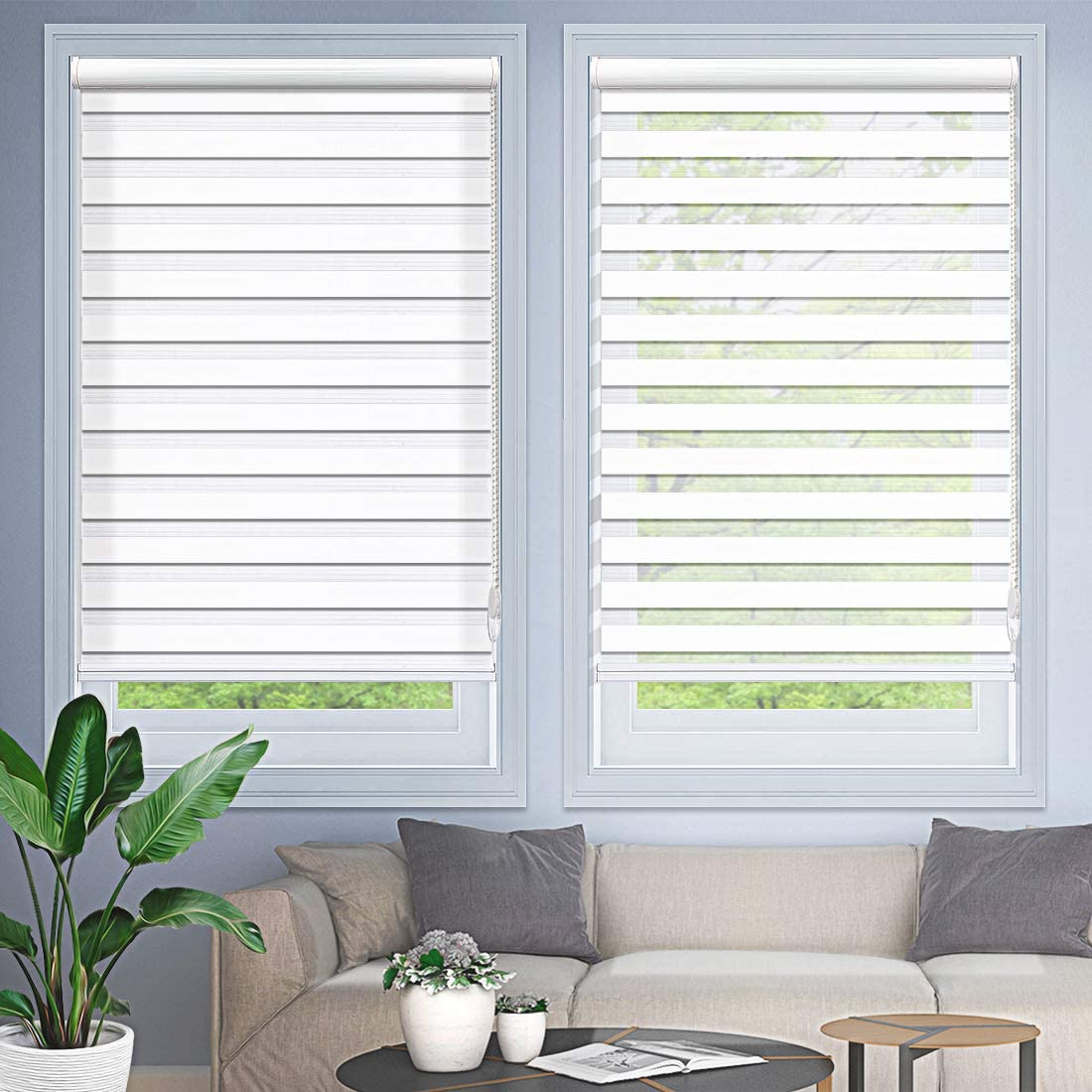 MiLin Window Blinds Zebra Dual Sheer Shades Custom Cut to Size, Light Filtering Zebra Roller Shades for Home Light Control and Privacy - Snow White 23