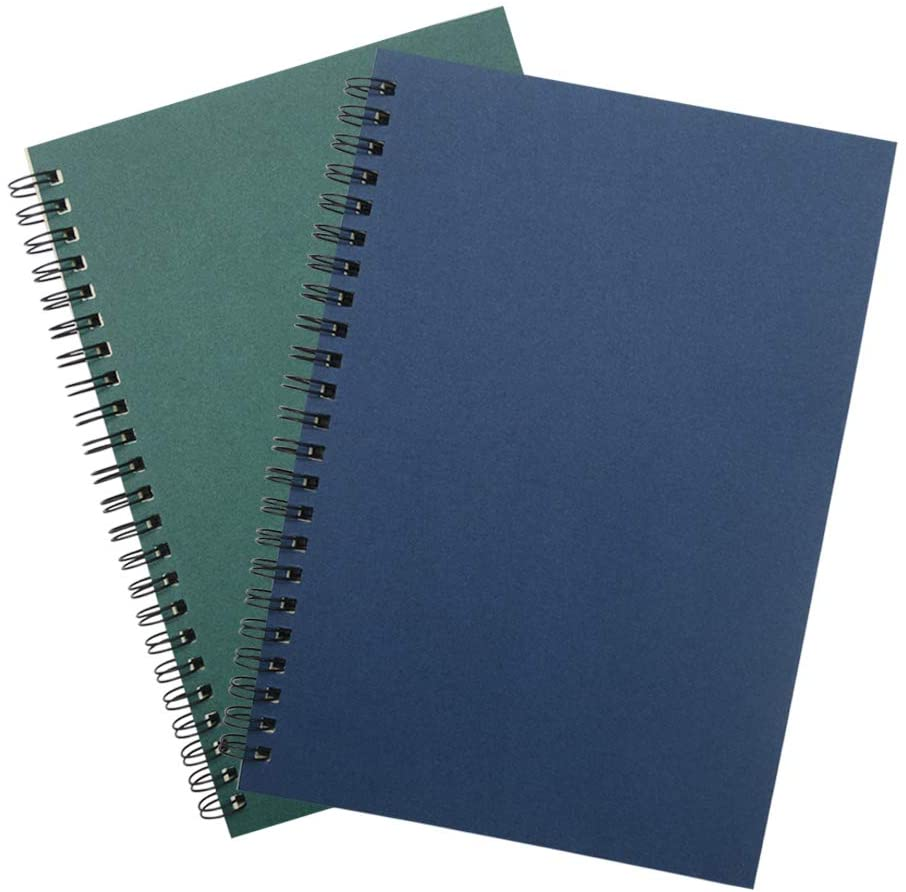 Soft Cover Spiral Notebook Journal 2-Pack (A5)120 Pages (60 Sheets), Blank Sketch Book Pad Notebook Journal A5 Notebook Diary Notebook Notepads,120Pages/ 60 Sheets (Blank 2pcs-Blue+Green)