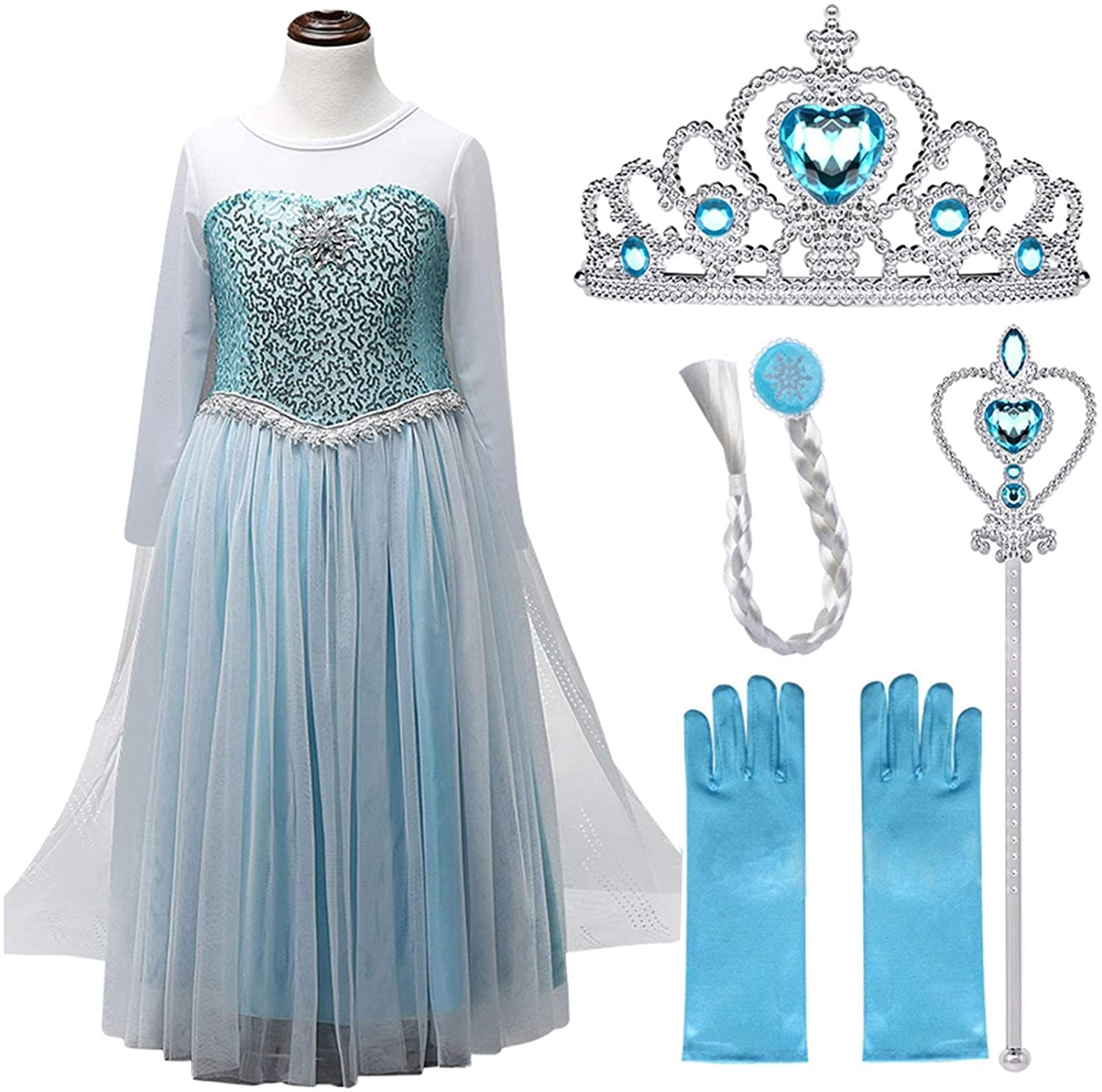 XYXINS Dresses for Girls Princess Party Elsa Costume Snow Queen 2 Cosplay Hair Accessory Set Halloween Girls Clothes Festive Dress Up Princess Look (Color : White Set 2, Kid Size : 7)