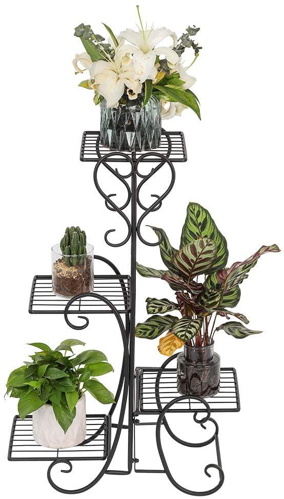 4 Tier Plant Stand Art Flower Pot Holder Rack Planter Pots Shelves Display Multiple Plants Succulents Indoor Outdoor for Garden Patio Balcony