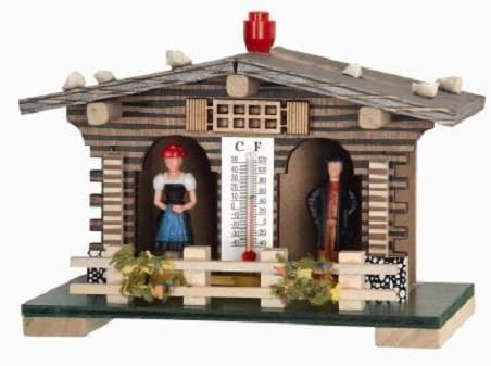 Pinnacle Peak Trading Company German Weather House with Fence Black Forest Couple and Thermometer Weatherhouse