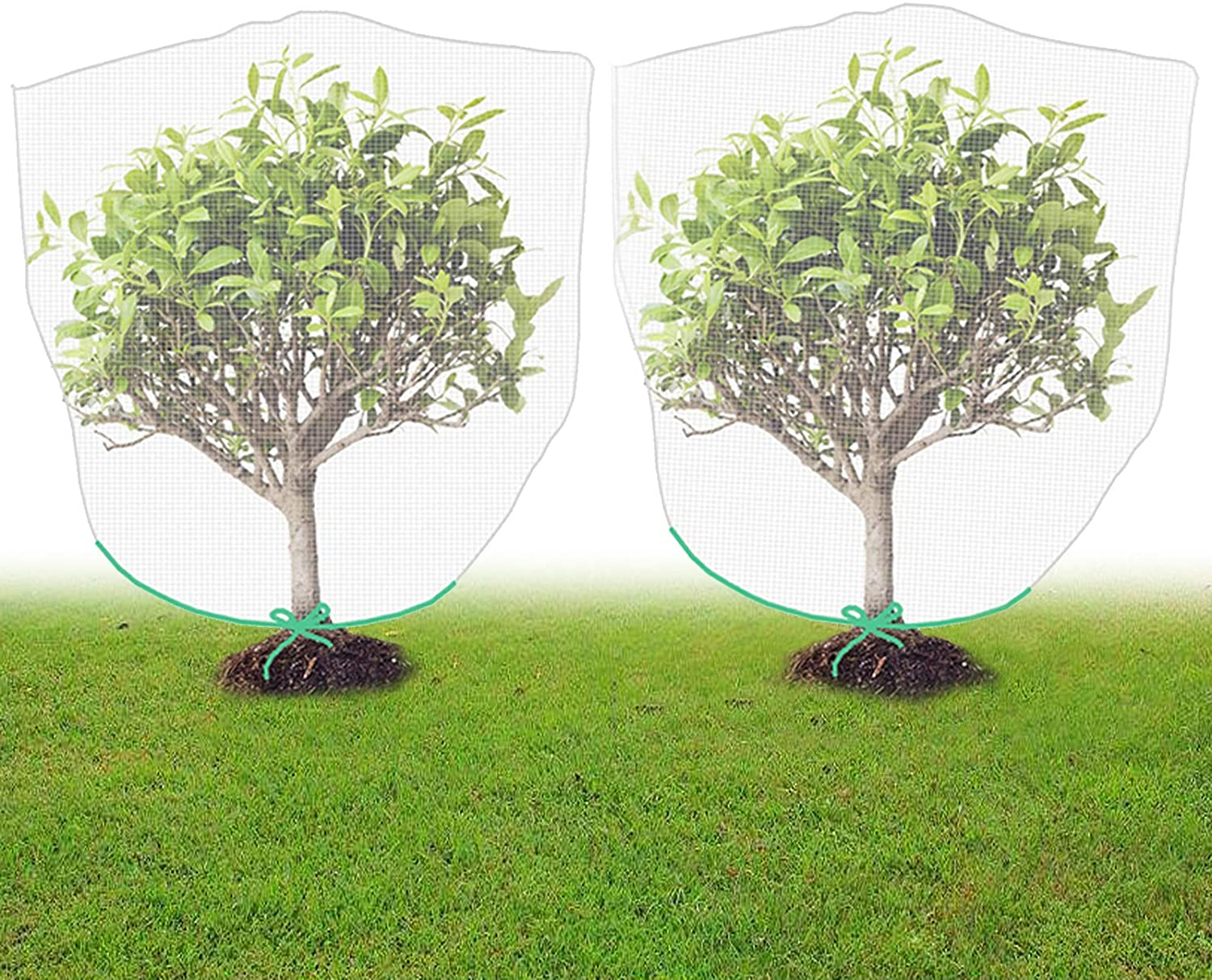 FLYING TIGER 2pcs Bird Netting for Garden and Plant, Pest Netting for Plant in Shape Bag with Rope, 4.6x4ft/1.4x1.2m