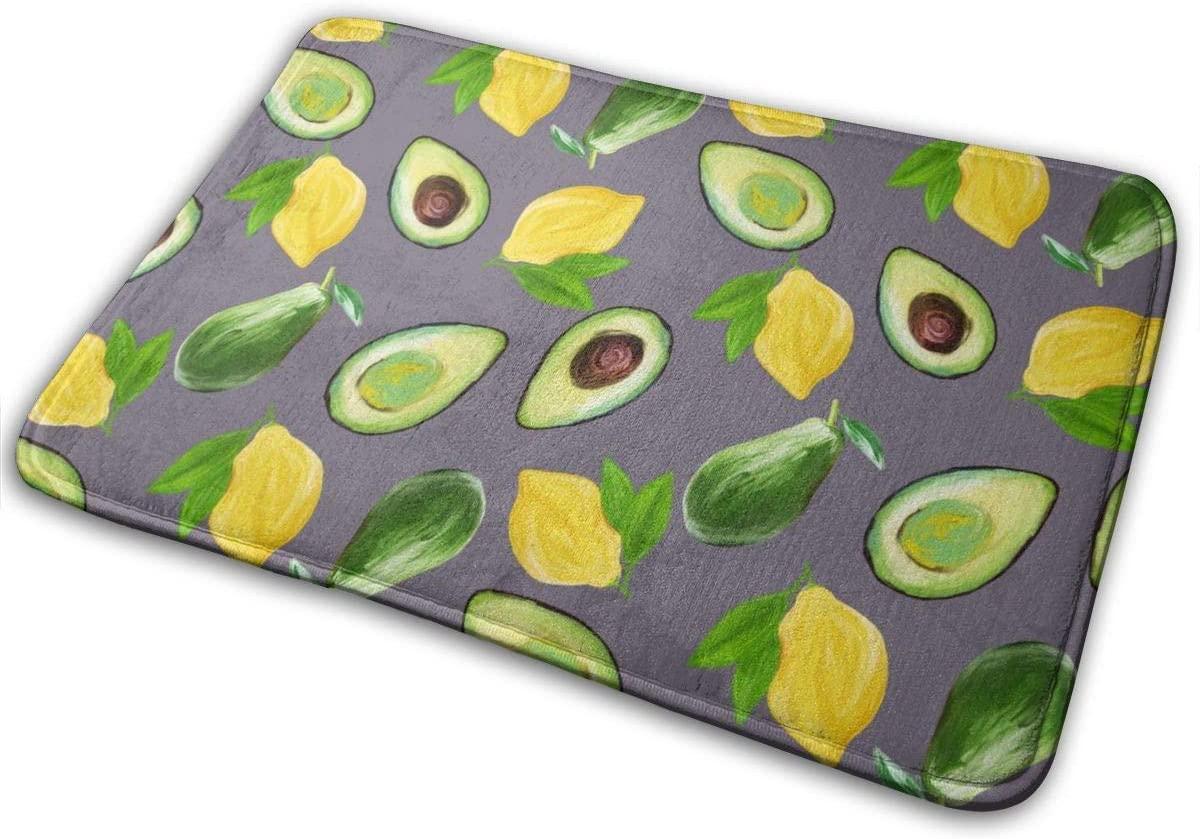 QSMX Green Avocado and Yellow Lemon Doormat Super Absorbent Water Mat Floor Mats,Rubber Backing Non Slip Door Mats,Inside Mud Dirt Trapper for Front Back Door Bathroom Living Room Kitchen