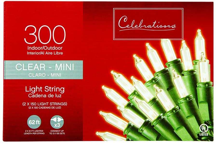 Celebrations Mini Light Set 300 Count Clear Bulbs, 31-Feet Lighted Length, Great For Holidays, Beautiful Design, Comes With 150 Count Set, Indoor or Outdoor Use, Traditional Holiday Decoration