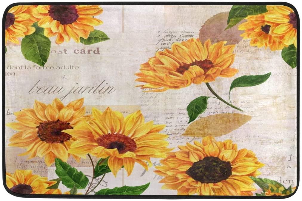 Bolaz Doormat Area Rug Vintage Envelope Sunflower Leaves for Bedroom Front Door Kitchen Indoors Home Decors 23.6x15.7 inches