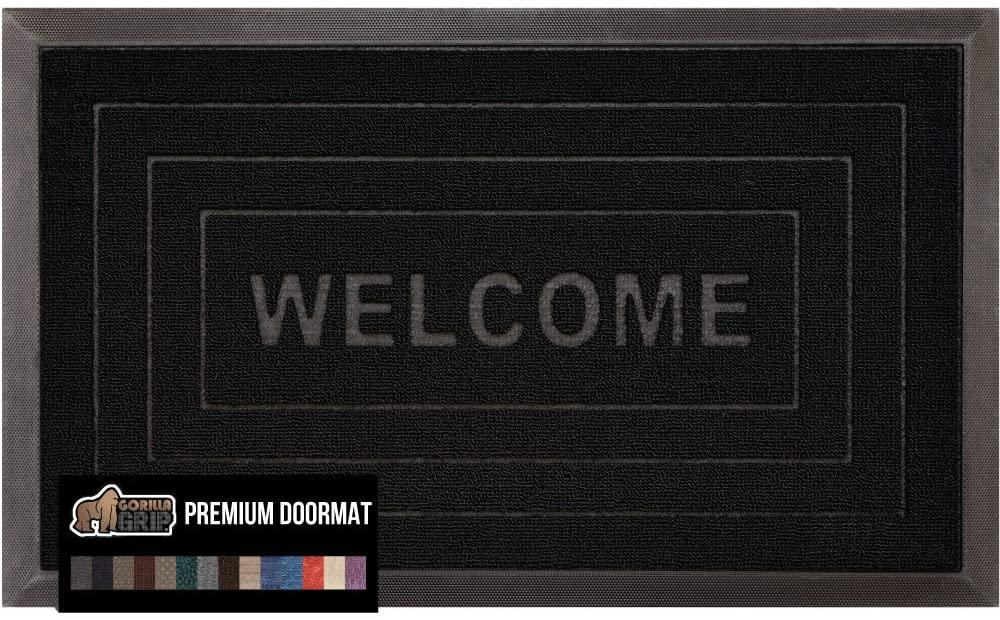 Gorilla Grip Original Durable Natural Rubber Door Mat, 29x17 Heavy Duty Doormat, Indoor Outdoor, Waterproof, Easy Clean Low-Profile Rug Mats for Entry, Garage, Patio, High Traffic Areas, Black Welcome