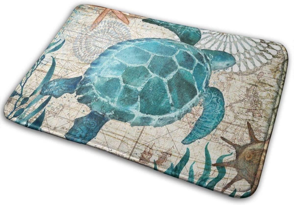 Bath Mat Non Slip Super Bathroom Rug Indoor Carpet Doormat Floor Dirt Trapper Mats Shoes Scraper 24x16 Inch Abstract Sea Turtle Underwater World