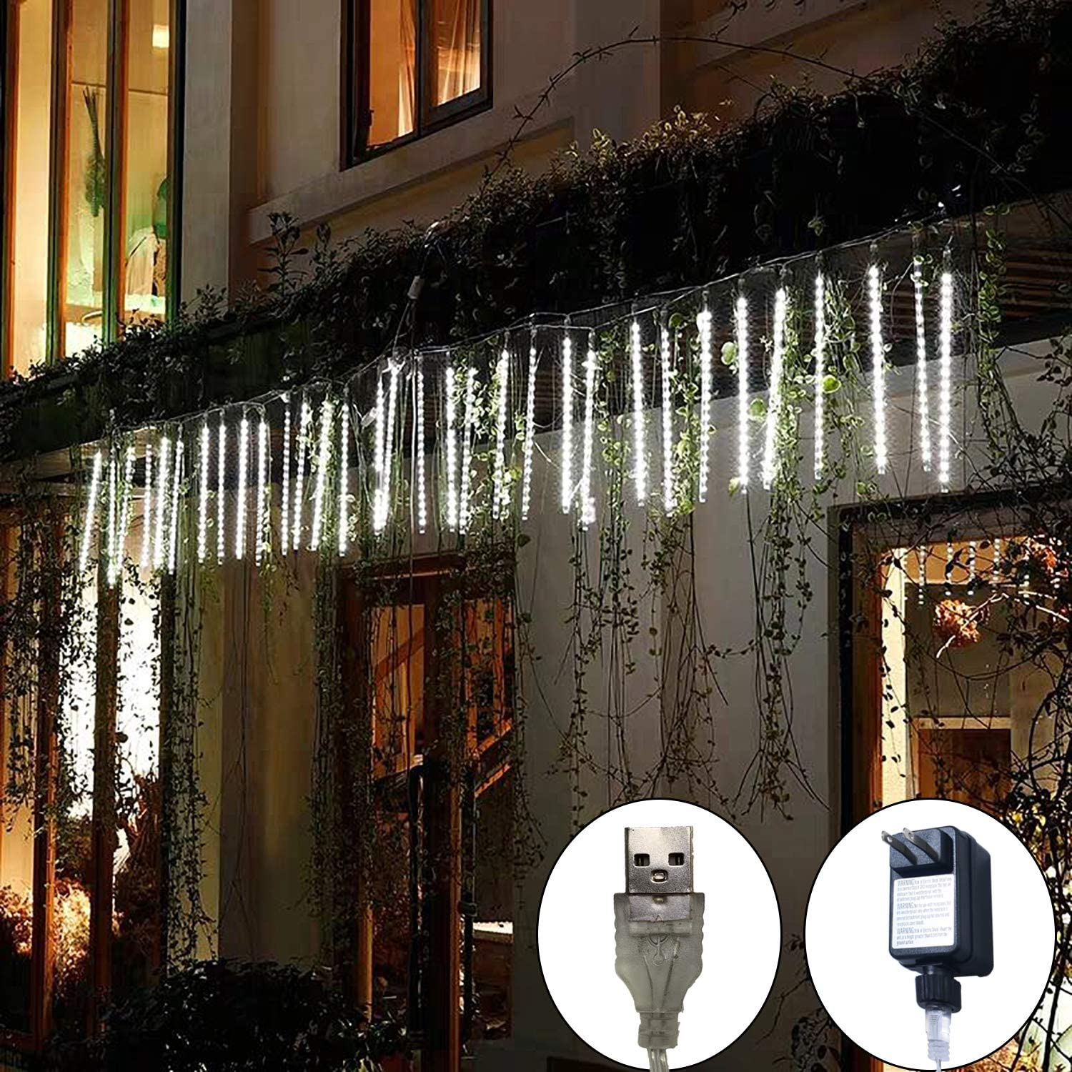 Meteor Lights for Tree, 30cm 8 Tubes 248 LED Falling Rain Drop Lights, Waterproof Cascading Lights Xmas String Lights, Meteor Shower Rain Lights for Holiday Party Birthday Shop Decoration (White)
