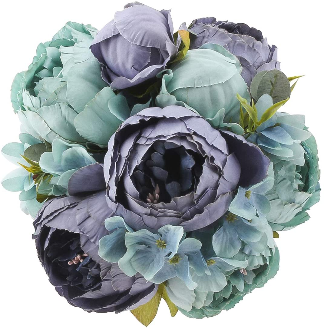 Flojery Silk Peony Bouquet Vintage Artificial Peonies Flower for Home Wedding Party Decor (1pcs, Blue)