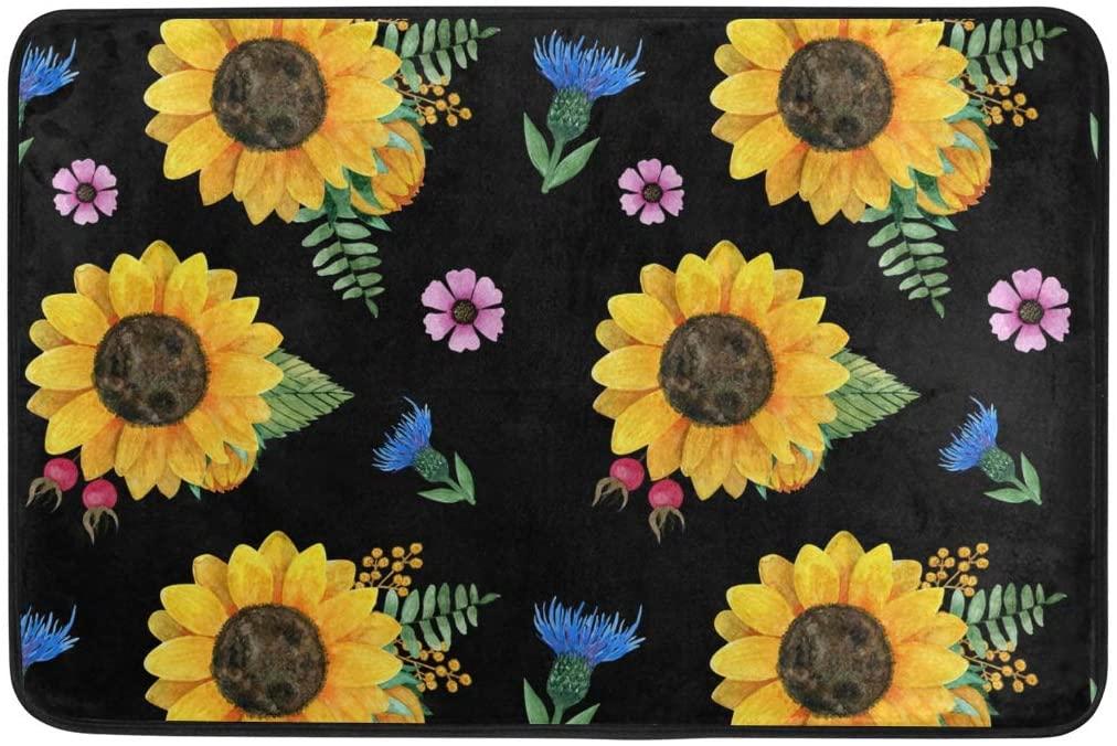 Moudou Sunflower Doormat Non Slip Floor Mat Indoor Outdoor Entrance Kitchen Bath Garden Carpet 23.6 x 15.7 Inch