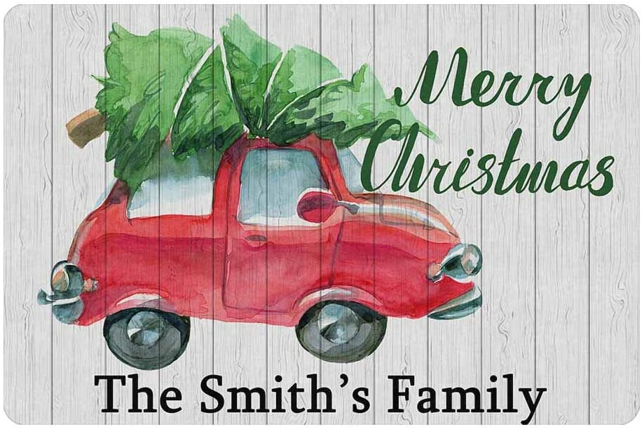 Custom Your Family Name Personalized Christmas Doormat 24 x 16 Inches Indoor or Outdoor with Car Tree Funny Entrance Welcome Door Mat Area Rug Decor