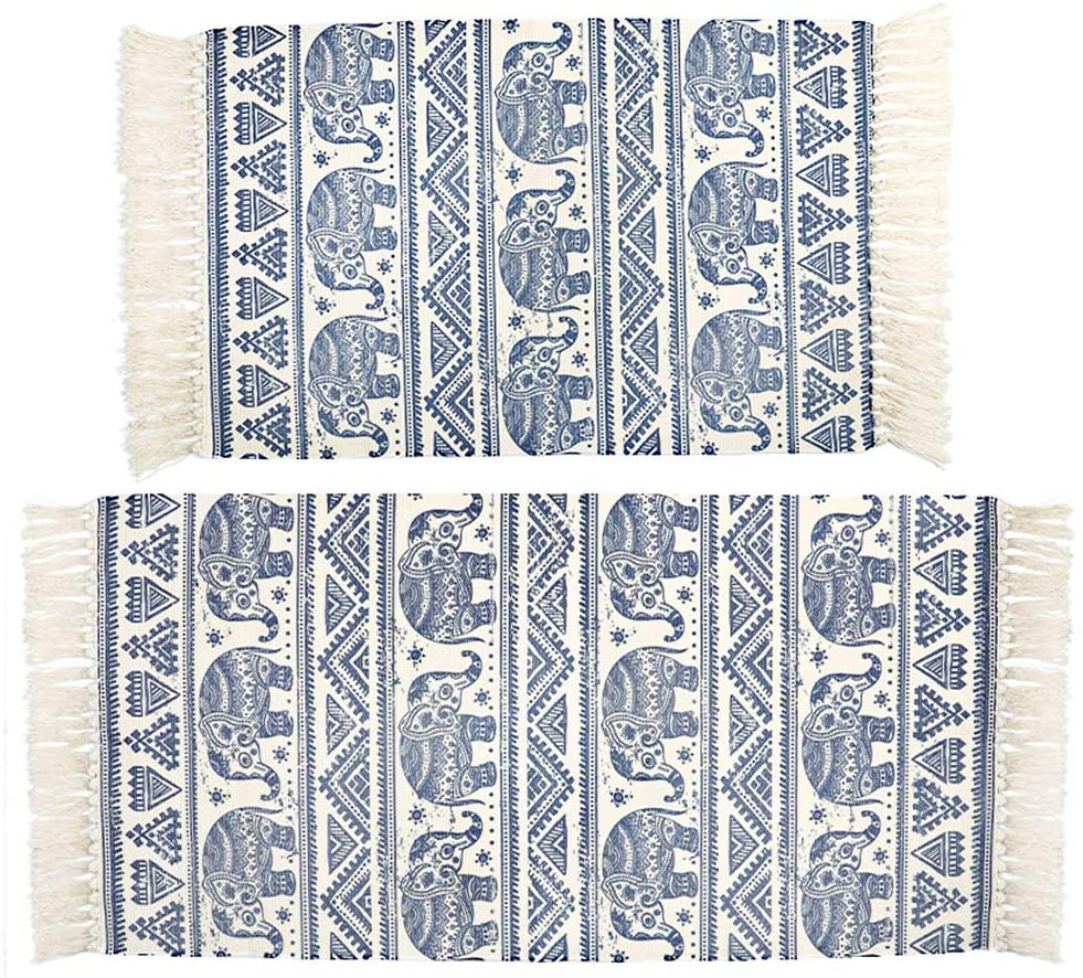 HEBE Cotton Area Rug Set 2 Piece 4.2'x2'+3'x2' Mandala Cotton Rug for Living Room Bedroom Kitchen Hand Woven Cotton Rugs with Tassel Fringe Washable