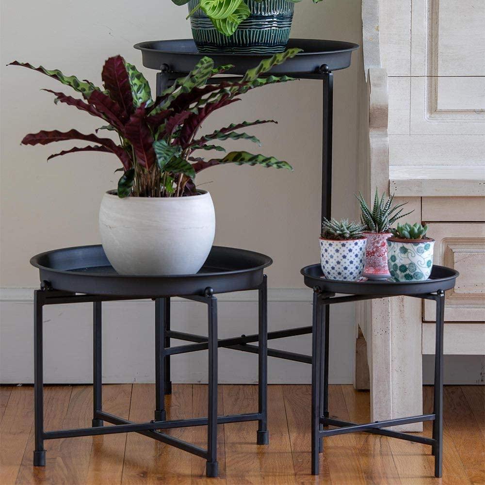 White Flower Farm Onyx Metal Plant Stand - Modern Plant Table - Large (Z445)