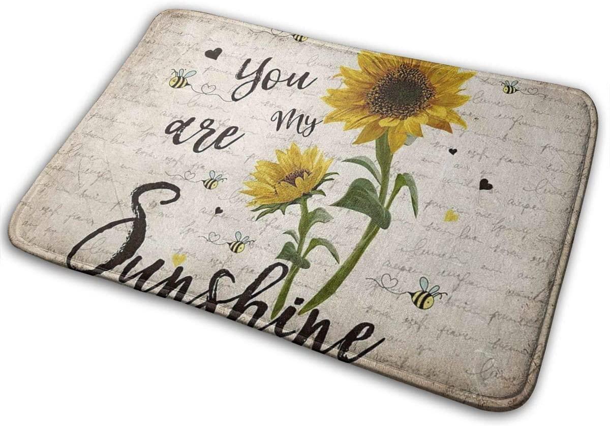 Retro Sunflower and Bees Doormats Entrance Front Door Rugs Decorative Indoor/Bathroom/Kitchen/Bedroom/Entryway Floor Bath Mats, Non-Slip(You are My Sunshine)
