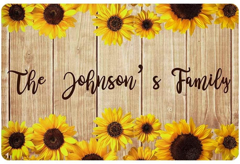 MyPupSocks Custom Mat, Personalized Text Printed Doormat Sunflowers on Wooden Board Door Mat Rug Welcome Indoor Outdoor Decor Entrance Mat Non Slip Floor Mat Rug for Living Room 24x16 Inches
