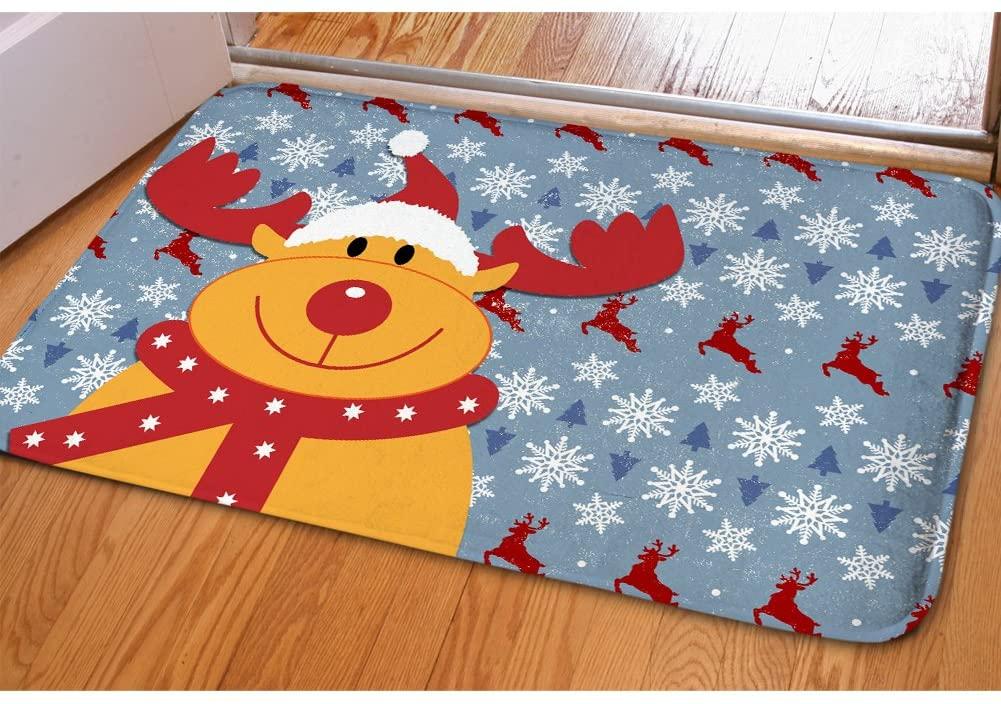 Christmas Indoor Welcome Doormat for Porch Balcony Sliding Door Water Dirt Trapper Soft Entranceway Floor Mat Dorm Bedroom Bathroom Winter Non Slip Door Mat Kitchen Small Carpet