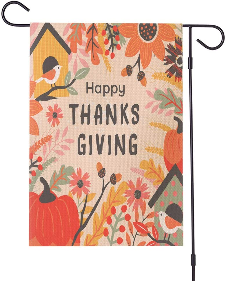 Life Diaries Double Sided Colorful Happy Thanksgiving Garden Flag, Perfect for Outdoor Garden Yard Decoration 12x18 Inch
