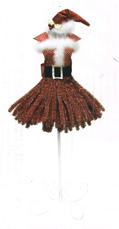 at home Holiday Miss Santa Claus 5 Foot Artificial Mini Dress Form Christmas Tree