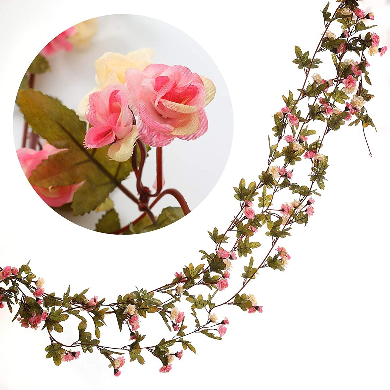 DerBlue 3 Pcs 22.6 Feet Flower Garland Artificial Rose Vine Flowers Plants Artificial Flower Hanging Rose Ivy Home Hotel Office Wedding