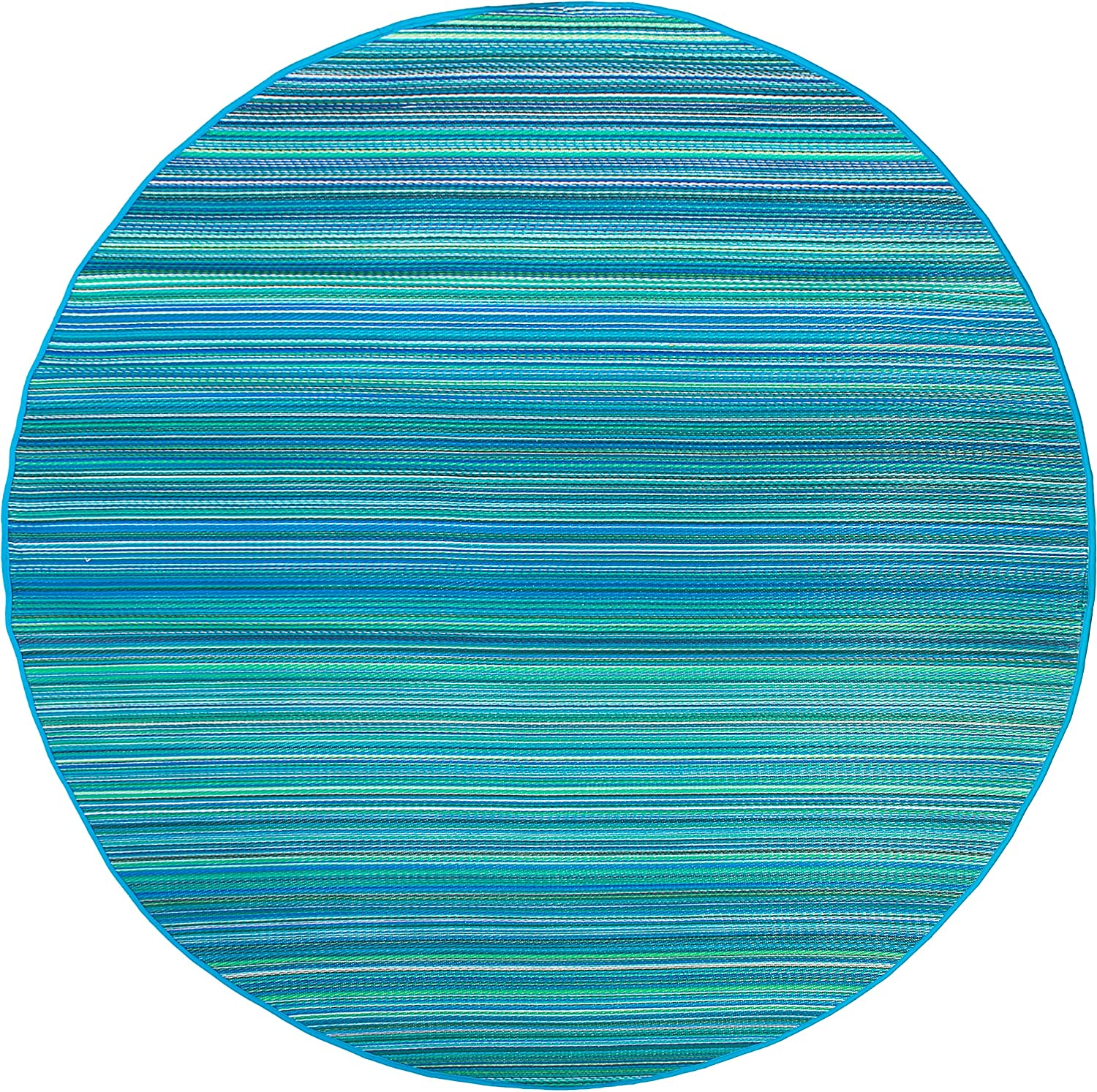 Fab Habitat Reversible Rugs | Indoor or Outdoor Use | Stain Resistant, Easy to Clean Weather Resistant Floor Mats | Cancun - Turquoise & Moss Green, 8' Round