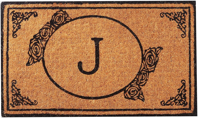 Envelor Home and Garden Handwoven, Customized Monogram Extra Thick Doormat, Outdoor Rugs Durable Coir, Outdoor Doormat, Welcome Mat Entryway Door Mat For Patio, Coir Doormat (30 x 48, Monogram J)
