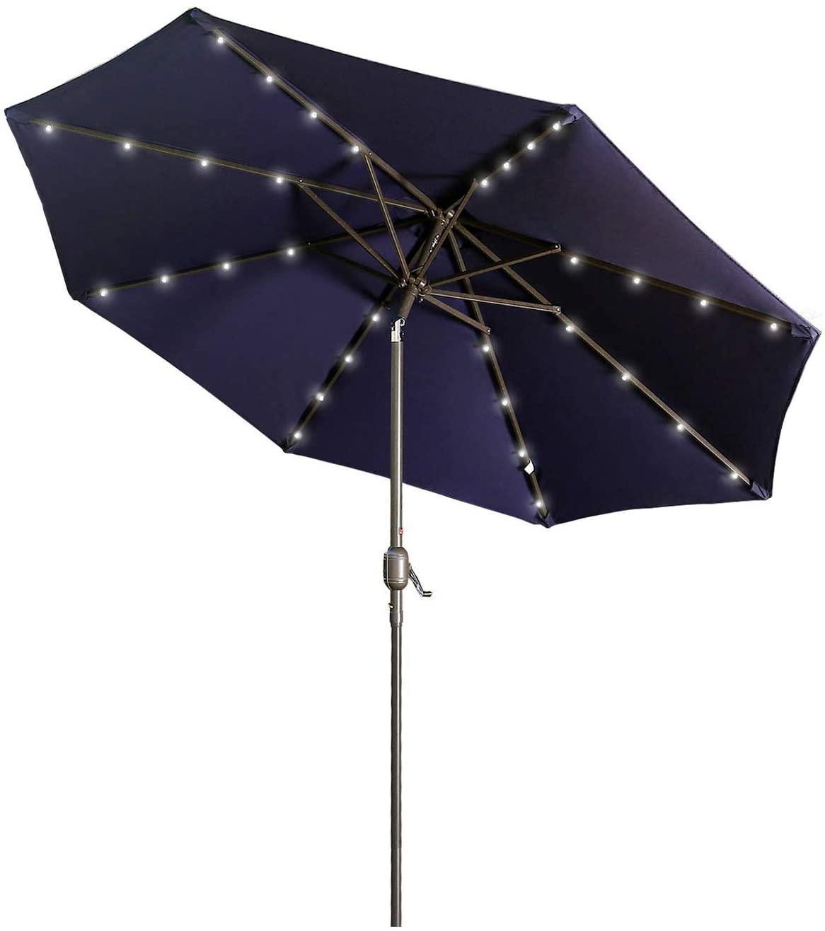 Aok Garden 9 ft Solar LED Lighted Patio Umbrella Outdoor Umbrella with Tilt and Crank 8 Ribs, Navy Blue